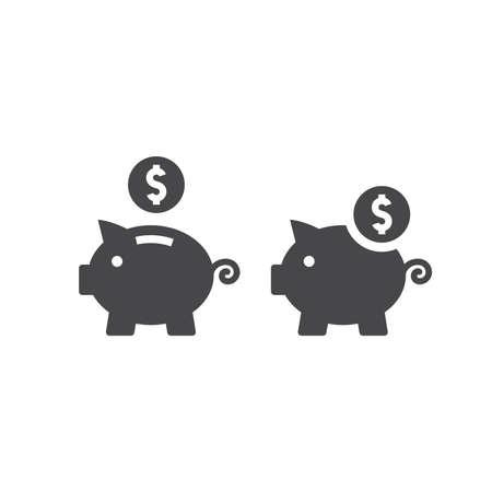 Piggy bank with dollar coin vector icon. Savings or budget financial symbol.