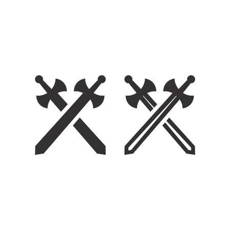 Crossed arms or swords vector icon. Game, battle black glyph symbol.