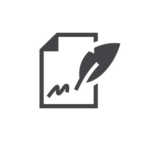 Contract signing black vector icon. Paper document with signature and quill pen sign.