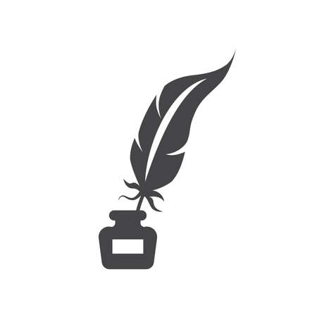 Quill pen with inkwell black vector icon. Feather with ink bottle, retro or antique design glyph symbol.