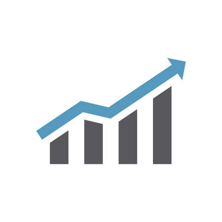 Growth chart vector icon. Bar graph or infographic with arrow symbol.