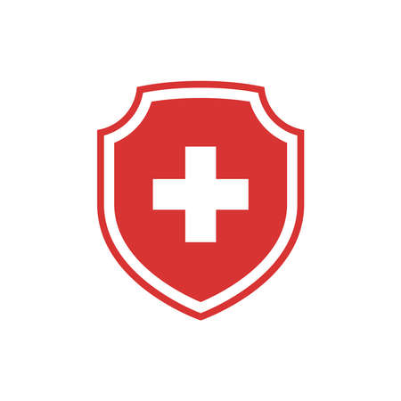 Shield and medical cross vector icon. Medicine or hospital symbol in red and white. 版權商用圖片 - 159956380