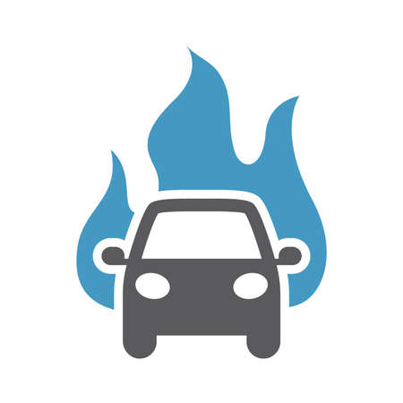 Car with flame or fire vector icon. Insurance concept symbol.