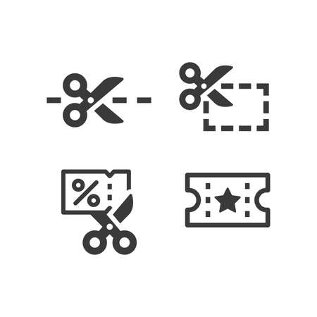 Scissors and coupon black vector icon set. Shopping discount symbols.