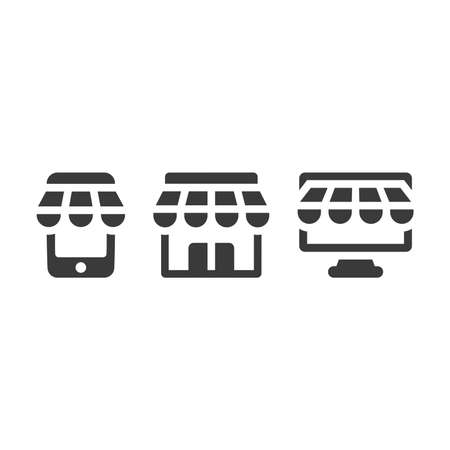 Online shopping icon set. Storefront with mobile phone and monitor. Shop building black vector symbol.
