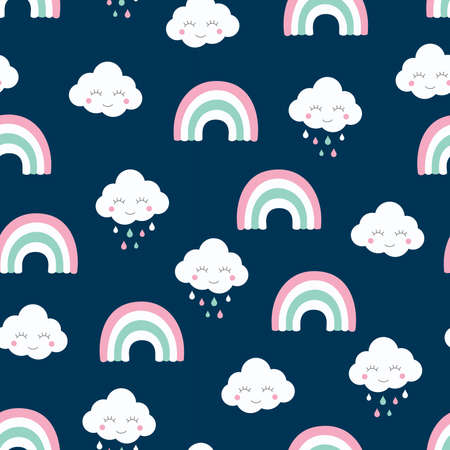 Clouds and rainbow colorful seamless pattern. Kids and baby design for print and fabric.