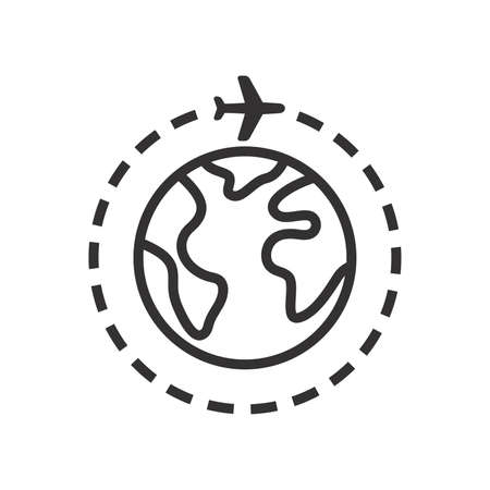 Airplane with planet or globe black vector icon. Around the world trip, earth with plane, travel symbol.