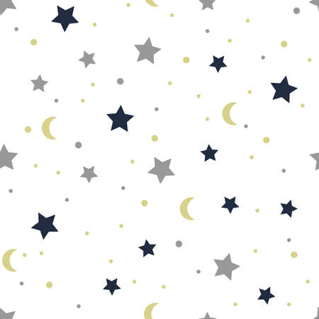 Stars and moon seamless pattern. Kids and baby colorful design for fabric or print.
