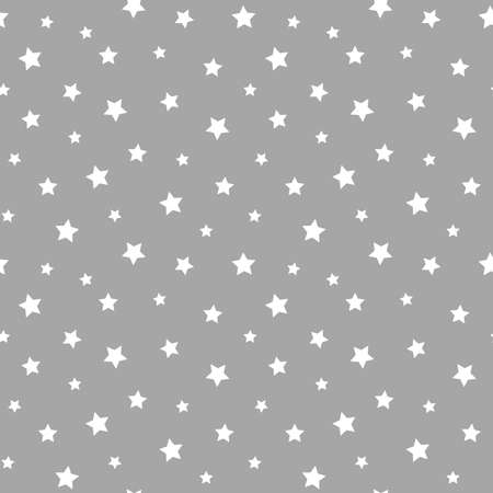 Stars seamless pattern. Grey and white star design for baby and kids pattern for print or fabric. 向量圖像