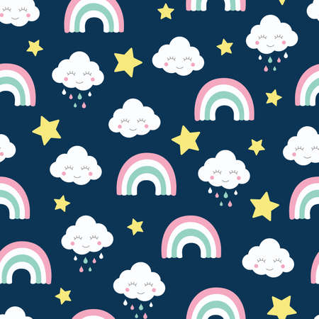 Clouds rainbow and strars seamless pattern. Kids and baby cartoon blue design for print and fabric.