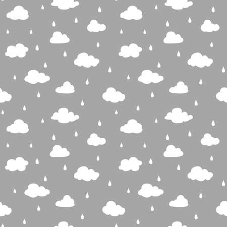 Clouds and rain seamless pattern design. White and grey design for print, fabric or paper.