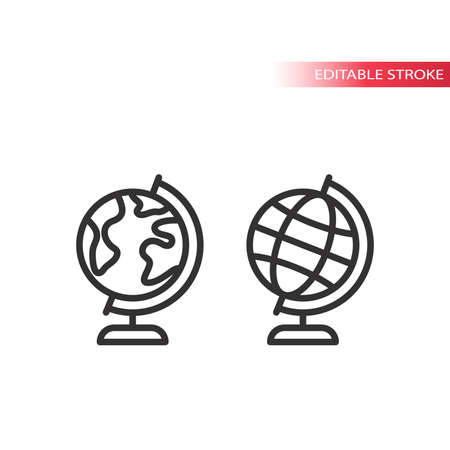 Globus thin line vector icon. Planet earth globe with continents outline symbol.