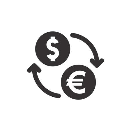 Euro and dollar exchange black vector icon. Money transfer currency coin with arrows symbol.