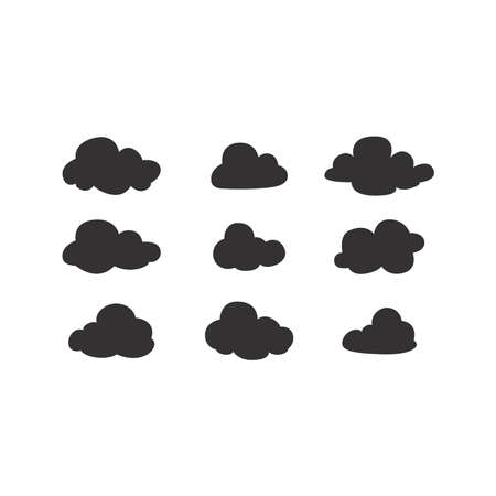 Clouds black vector icon set. Cloud silhouettes collection.