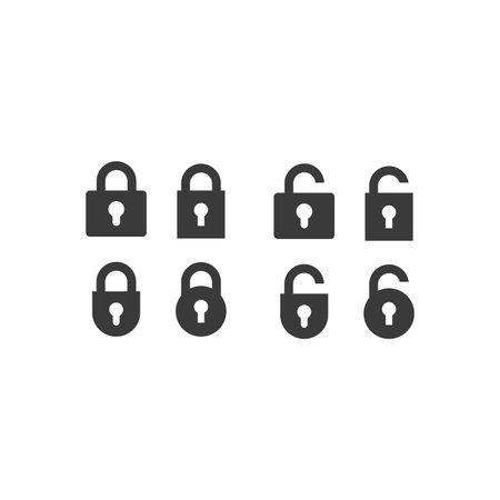 Padlock black vector icon set. Lock, open and closed, locked and unlocked web symbols. 向量圖像