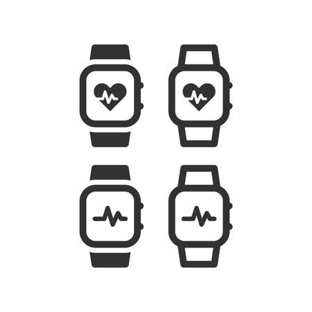 Pulse watch or pulsometer with heartbeat icon. Wrist watch with heart rate measuring display black vector symbol.