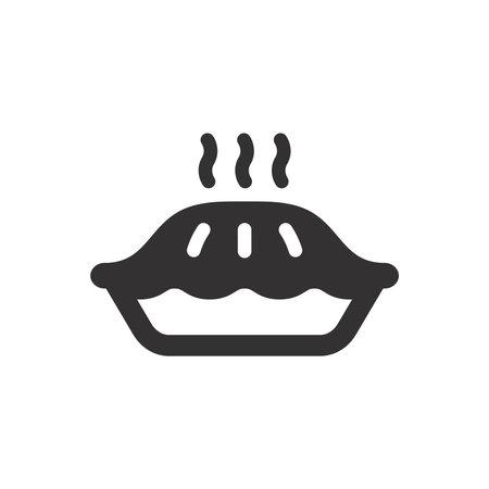 Pie simple black icon. Hot pie in platter with steam glyph symbol. 向量圖像