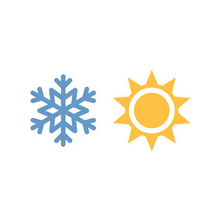 Sun and snowflake colorful vector icon. Weather forecast symbols.