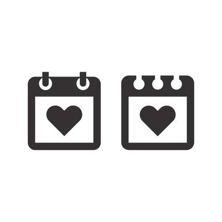 Calendar page with heart black vector icon. Love date simple symbol.