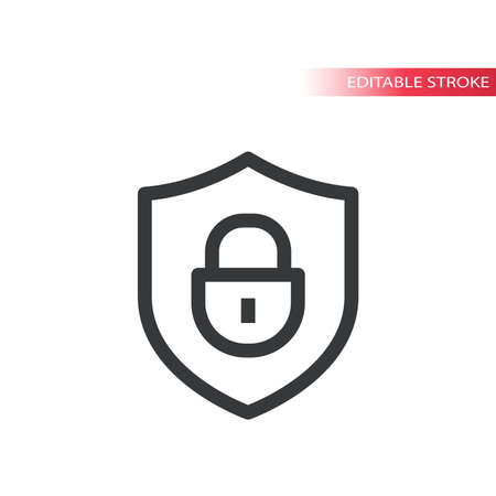 Shield and padlock line vector icon. Safety and security concept outline symbol, editable stroke.