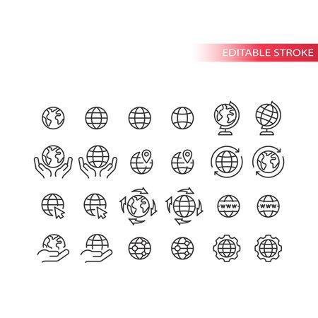 Globe for website line vector icon set. Planet Earth outline symbols, editable stroke. 向量圖像