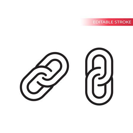 Link chain thin line vector icon. Web outline symbol, editable stroke.