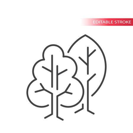 Tree thin line vector icons. Nature, forest trees outline symbol, editable stroke. 向量圖像