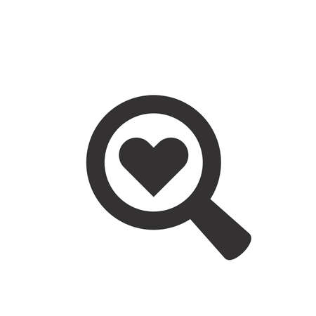 Magnifying glass with heart black icon. Love search vector symbol, magnifier. 向量圖像