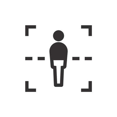 Body scan black vector icon. Security scanner glyph symbol.