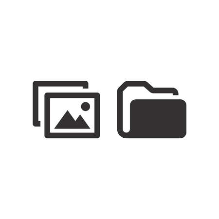 Picture file and folder vector icon. Black glyph symbol set. 向量圖像