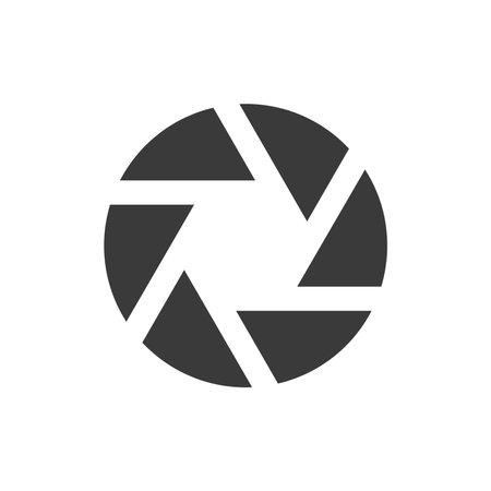 Camera shutter or aperture black icon. Simple glyph vector symbol. 向量圖像