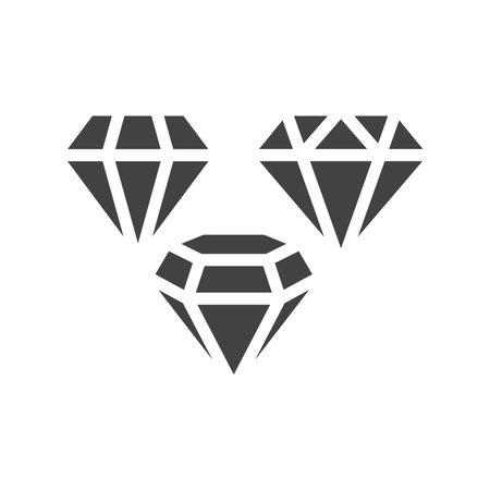Diamond shape black vector icon set. Diamonds glyph symbols.