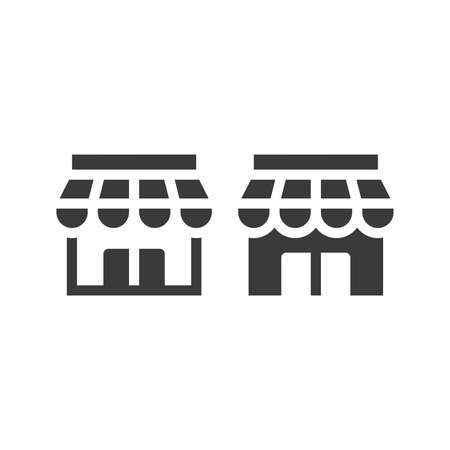 Store or shop black vector icon. Storefront glyph web symbol. 向量圖像