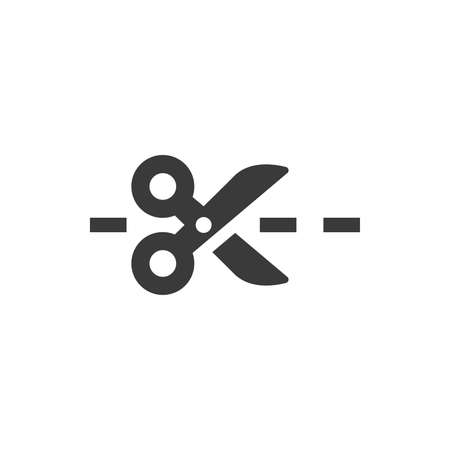 Scissors with dashed cut line icon. Coupon glyph vector symbol.