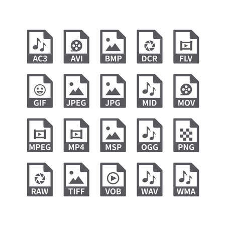 File type vector icons for media files. Avi, Mp3, music and video, picture formats buttons. 向量圖像