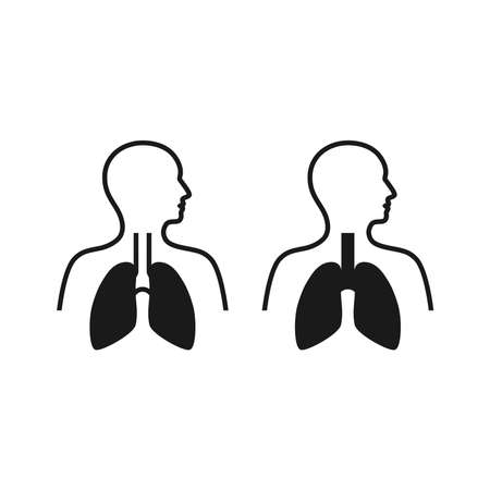 Human body with lungs black vector icon. Respiratory system symbol.