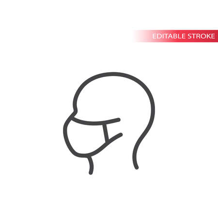 Human head profile with face mask icon. Outline symbol, editable stroke.