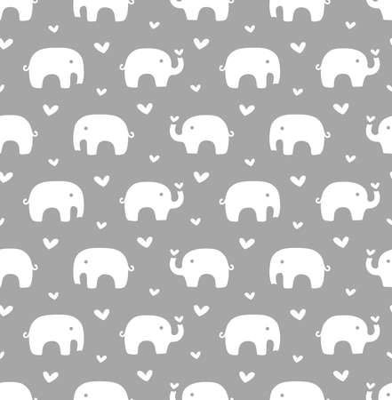 Elephants and hearts seamless pattern design. Heart and elephant print for kids and baby fabric or paper in white and grey.