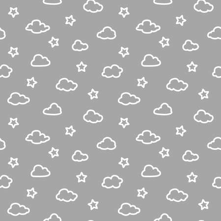 Clouds and stars seamless pattern. White and grey design for print, fabric or paper.