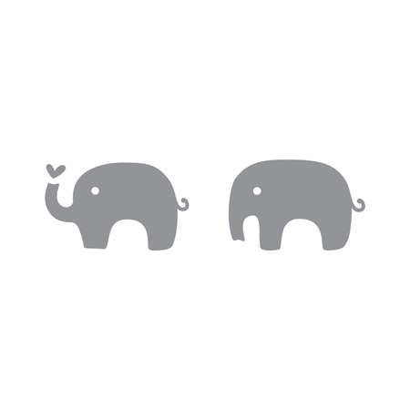 Cute elephant with heart silhouette. Baby and kids elephants decoration or logo icon. 向量圖像