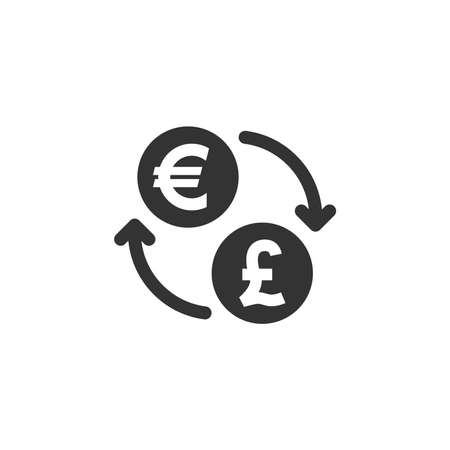 Euro and british pound exchange vector icon. Money currency coin with arrows or loop symbol. 向量圖像