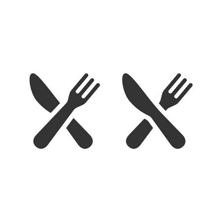 Knife and fork crossed black vector icon. Kitchen, food and restaurant symbol. 版權商用圖片 - 162640271