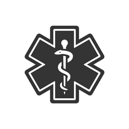 First aid, medical emergency vector symbol. Rod of asclepius or aesculapius with snake, ems icon.