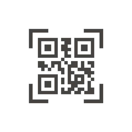 Qr code scan black vector icon. Qr scanner glyph symbol.
