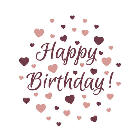 Happy birthday lettering with hearts. Birthday card design with text, Euphoria Script font. 向量圖像