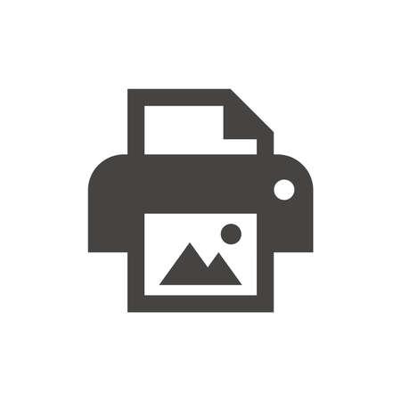 Photo printer black vector icon. Print picture button glyph symbol. 向量圖像