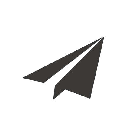 Paper plane or airplane black vector icon. Simple glyph symbol.