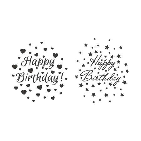 Happy birthday lettering with stars and hearts. Birthday card design with text, Mr De Haviland and Euphoria Script fonts. 向量圖像