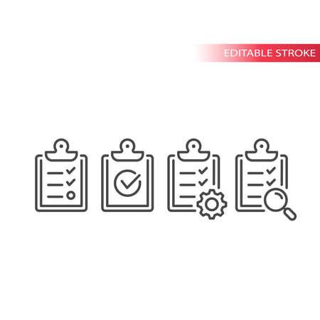 Clipboard with checklist, cog and check mark. Line vector icon set, editable stroke. 版權商用圖片 - 163056382