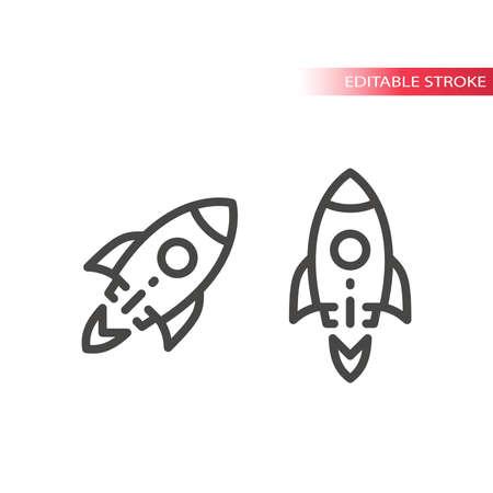 Rocket shuttle line vector icon. Startup business symbol, editable stroke.